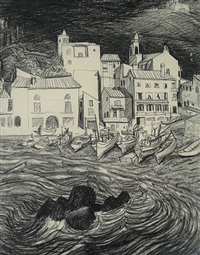 the far side: collioure village by jack leonard shadbolt