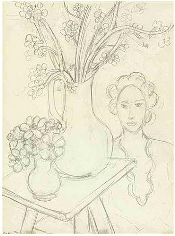 femme et bouquets by henri matisse