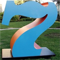 seven, 1980-2001, blue (faces) and orange (sides) by robert indiana