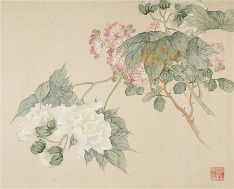 three paintings of flowers 3 album leaves by tang shishu