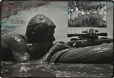 wounded croc in mudflats of alia bay, lake rudolf (p.b with rifle in mud) by peter beard