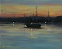evening mooring (sold) by dennis sheehan