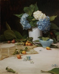hydrangeas and crabapples (sold) by grace mehan de vito