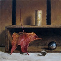 still life with fall leaf (sold) by michael naples