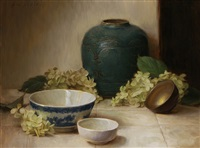 blue and white bowl with white hydrangea by grace mehan de vito