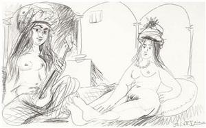 musicienne et nu assis by pablo picasso
