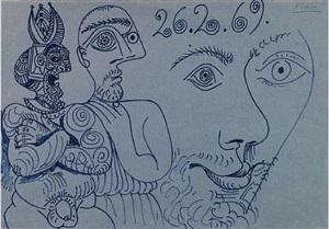 deux personnages et tête by pablo picasso