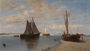 fishing boats on the scheldt by paul jean clays