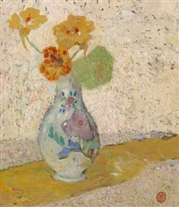 three flowers in a vase by gustave de smet
