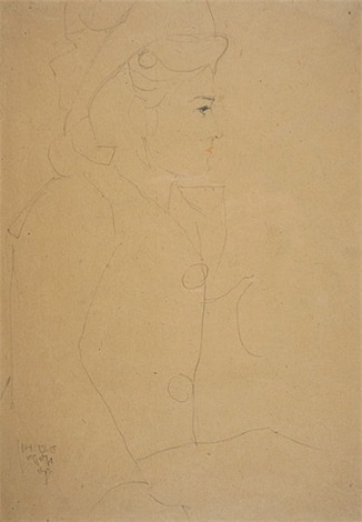 young girl in profile, with hat by egon schiele