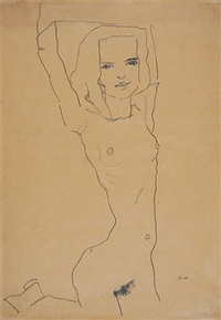 nude girl with arms raised by egon schiele