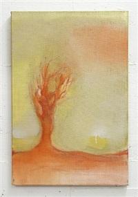 red tree in gold by leiko ikemura
