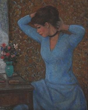 jeune femme devant la coiffeuse by françois gall