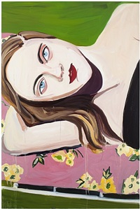 red lips on a sun lounger by chantal joffe