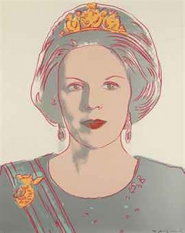 queen beatrix of the netherlands (from the serie 'reigning queens') by andy warhol