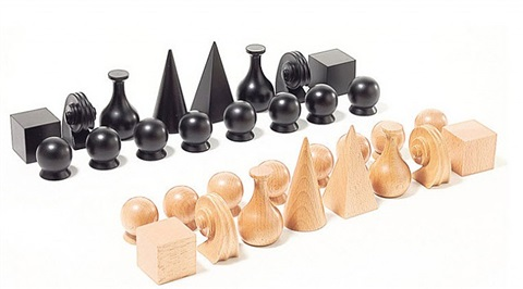 chess set (32 pieces; board sold separately) by man ray