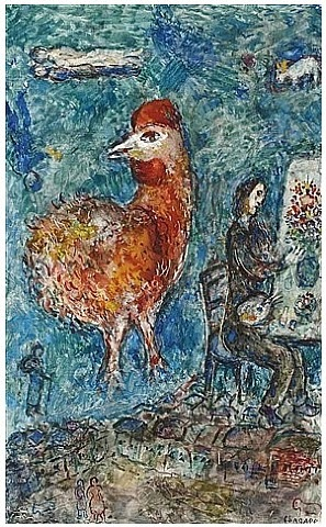 le coq rouge et le peintre by marc chagall