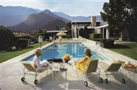 poolside glamour: lita baron, nelda linsk, and helen dzo dzo, palm springs by slim aarons