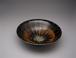 bowl, ame glaze with stripes by yoshinori hagiwara