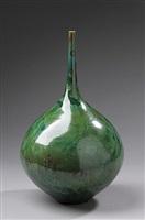 vase, green eyes glaze by hideaki miyamura