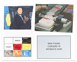 storyboard (in 4 parts): man fixing curlers in woman's hair by john baldessari