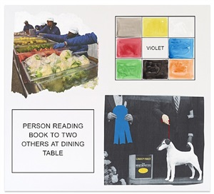 storyboard (in 4 parts): person reading book to two others at dining table by john baldessari