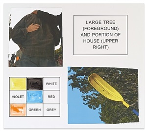 storyboard (in 4 parts): large tree (foreground) and portion of house (upper right) by john baldessari