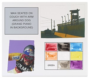 storyboard (in 4 parts): man seated on couch with arm around dog (grand piano in background) by john baldessari