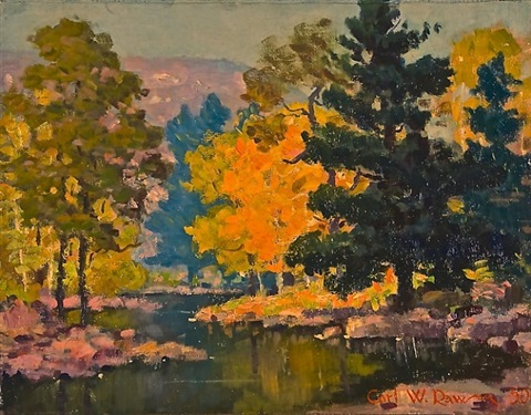 meandering river in fall by carl wendell rawson