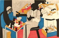 builders playing chess by jacob lawrence