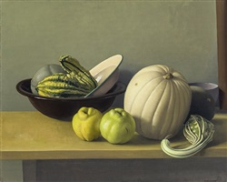 still life with quinces and white pumpkin by amy weiskopf