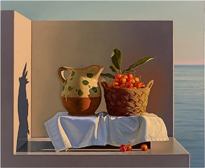 still life with pitcher and cherries by david ligare