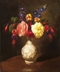 still life of flowers in a white vase by george henry hall