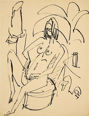 seated woman in the studio by ernst ludwig kirchner