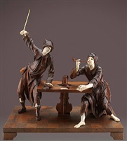 zwei von drei geschnitzten figurengruppen by simon troger