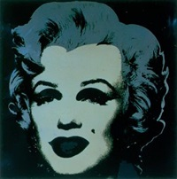 andy warhol screenprint in black and silver with black background