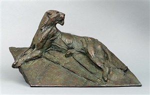 lion lying on rock, maquette by dylan lewis