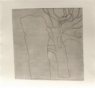 tree, column and moon by ben nicholson
