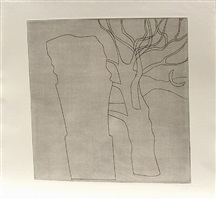 tree, column and moon by ben nicholson