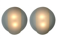 pair of frosted glass wall sconces by ron rezek