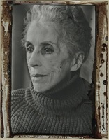 karen blixen, december 3 (christmas tree with presents, sx-70 polaroid, verso frame) by peter beard