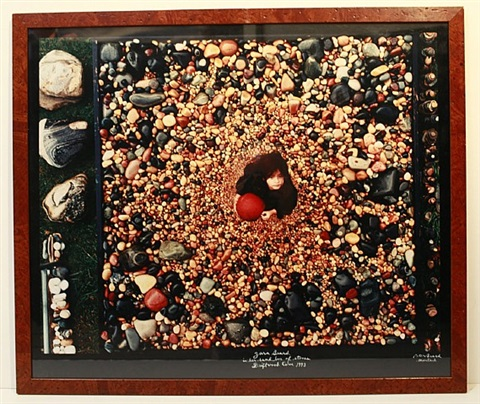 zara beard in her sand box of stones, driftwood cove, montauk by peter beard