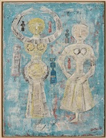 due figure su fondo azzuro by massimo campigli
