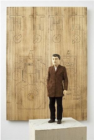 motor - relief with figure wearing brown jacket by stephan balkenhol