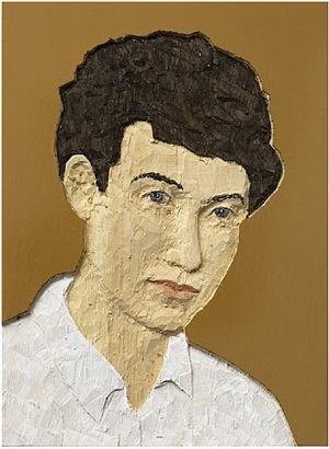 relief man (ockra background) by stephan balkenhol