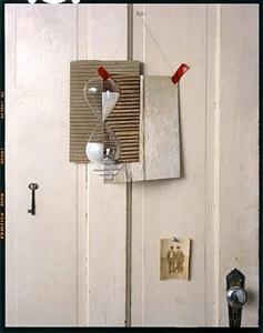 hourglass, painting on door by john chervinsky