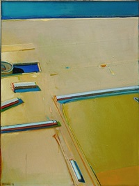 desert beach with boat departing by raimonds staprans