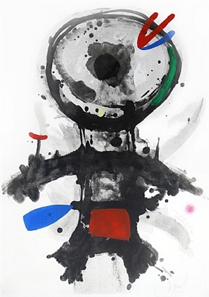 l' ange crible, (the riddled angel) by joan miró