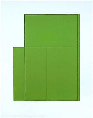 rectangle within 3 rectangles-green by robert mangold