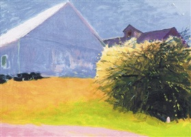 barn and forsythia by wolf kahn